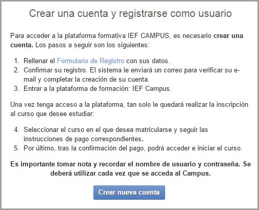 Crear una cuenta en IEF Campus